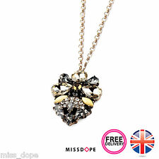 NEW RETRO GOLD BLACK CRYSTAL BEE SHAPED PENDANT GLASS BOHO NECKLACE CHAIN YELLOW