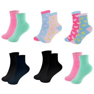 Girls Heart Design Thermal Socks Kids Plain School Uniform Black Navy Mint Pink