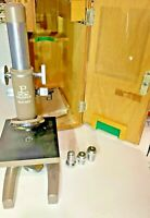 Vintage Propper Microscope   Model SDA No. 51832   With Wooden Box & 3 Lens