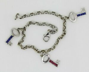 18ct White Gold Theo Fennel Sapphire and Ruby Key Charm Bracelet (8 Inches)