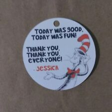 12 Personalized The Cat in the Hat birthday party favor tags. Dr. Seuss
