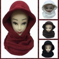 Knit Warm Hoodie Infinity Winter Scarf Hood Ski Multi Way Fashion NEW Red Brown