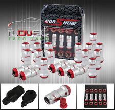 M12 X 1.5MM 20PC CNC WHEEL RIMS LUG NUTS FORMULA STYLE CHROME RED W/ KEY HONDA