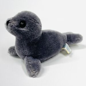 "Vintage 1983 Dakin & Co. Wool Gray Seal Pup 5"" Tiny Baby Stuffed Plush Animal"