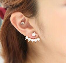 Gold Plated Stud Pearl Spike Earrings Ear Jacket Pearls Wrap around Ear Lobe