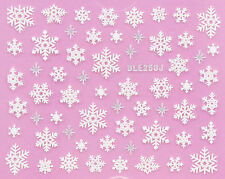 Christmas PUFFY WHITE Snowflakes Silver Stars Xmas 3D Nail Art Sticker Decals