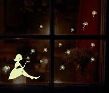 Glow In The Dark Dandilion Girl Wall Sticker Kids Bedroom Autumn Winter Xmas UK