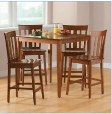 Counter Height Dining Set 5 Pc Cherry Traditional Kitchen Bar Small Table Chairs