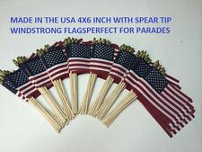 100 Total 4X6 Inch Us Made American Hand Held Stick Flags With Spear Tips