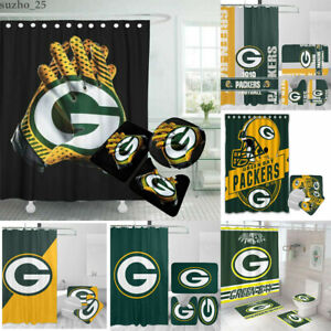 Green Bay Packers Bathroom Shower Curtain Rug Mat 4PCS Non-Slip Toilet Lid Cover