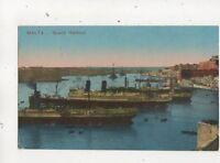 Malta Grand Harbour Vintage Postcard 637b