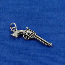 Silver Six Shooter Charm - Revolver Pistol Charm Pendant - NEW