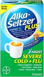 Alka-Seltzer Plus Night Severe Cold and Flu Powder Packet | 6 Ct | 3 Pack