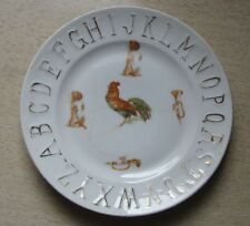 Antique Porcelain Childs Alphabet Plate with Bulldogs, Trumpets, Rooster