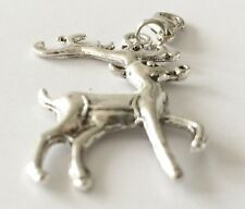 BEAUTIFUL LARGE SILVER  REINDEER CLIP ON PENDANT/ CHARM -  SILVER ALLOY  - NEW
