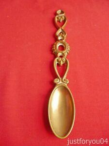 Vintage Solid Brass Loving Spoon.Oval Bowl.Heart Design.