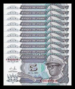 B-D-M Zaire Lot Bundle 10 Banknotes 5 Makuta 1993 Pick 48 SC UNC