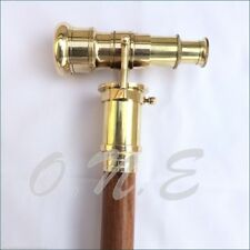 Solid Shinny Brass Brown Wooden Walking Cane Stick Telescope Cane Style Spy Gift
