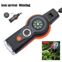 7 in 1 Emergency Survival Camping Hiking Whistle Compass Thermometer LED Light
