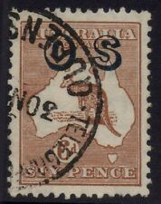 Australia - SM wmk 6d brown kangaroo, OS overprint - Die II with variety - Used