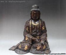 Chinese Buddhism Red Copper Gold Gild Eighteen Arhat Kwan-yin Guanyin Statue