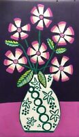 Original Painting Pink daisies & leaves, Folk/naive Art, decorative vase