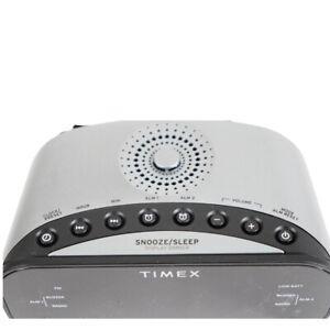 Timex AM/FM Dual Alarm Clock Radio w/1.2-Inch Green Display T231W2 Sliver