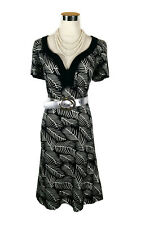 LEONA EDMISTON Dress - Vintage Style Fern Print Black White Cotton Sundress - 14