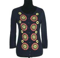 Anthropologie SM Cardigan Sweater Embellish Navy Blue Floral TABITHA 3/4 Sl CUTE