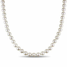 """Amour 14k Yellow Gold 7-7.5 mm Cultured Akoya White Pearl Necklace 18"""""""