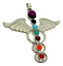 Chakra Silver Tone Guardian Angel Wing Pendant Gift Winged UK