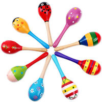 Wooden Maraca Rattles Baby Kids Educational Musical Hand Instrument Shaker Toy/