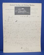 Standard Grading & Ditching Machine Handwritten Letter Harry K Clemons 1903