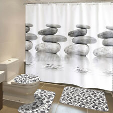 Cobblestone 180cm Shower Curtain Bath Mat Lid Toilet Seat Cover Pedestal Rug US