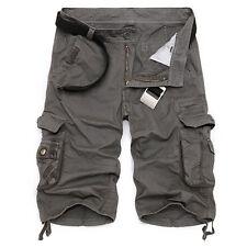Men's camo Capri Shorts Cargo Pants Multi Pocket Army Military Style Trousers