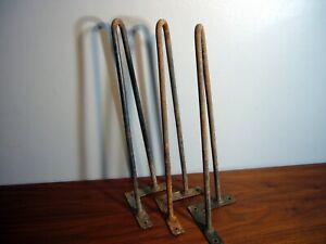 3 Mid Century Modern Wrought Iron Hairpin Table Legs Angle Mount Bracket