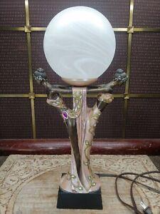 Beautiful Art Deco Figurines w/ Globe Lamp Jeweled Design Influenced by Erte