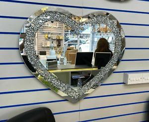 Silver Wall Mirror Gatsby Crushed Diamond Crystal Glass Frame Heart 70x80cm✨