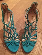 Reiss Turquoise Suede Heels / Shoe Boots Size 5 / 38