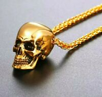 Skull Pendant Necklace 18k Gold Plated Chain Punk Biker Rock Day of the Dead 💀