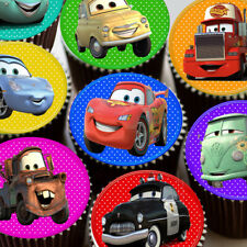 CARS MIXED COLOURED IMAGES EDIBLE CUPCAKE TOPPERS DECORATION 4U207