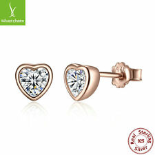 2018 Hot Sale Solid 925 Sterling Forever Love Heart 14K Gold & Clear CZ Earrings