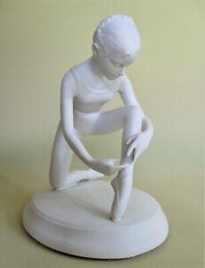 'Tying Ballet Shoes' Royal Ballet Bisque Porcelain Figurine by Brenda Naylor