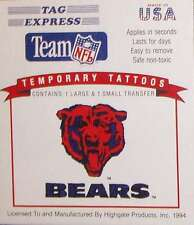 CHICAGO BEARS TEMPORARY TATTOOS TAG EXPRESS NFL LICENSED