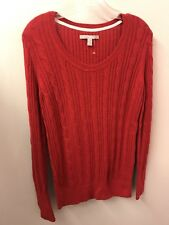 Old Navy M L Red Cableknit Cotton Cashmere Angora V Neck Long Sleeve Euc Lkn