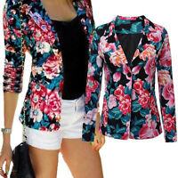Womens Floral Printed Lapel Slim Casual Blazer Suit Ladies Cardigan Jacket Tops