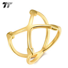 TT Gold Tone Stainless Steel Cross Band Ring (R360J) Size 7