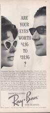 1963 Bausch & Lomb PRINT AD Ray Ban Vintage Sunglasses Styles Fun Pool House dec