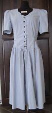 Blue Jean A-Line Tie Flare Polyester Cotton Heart Button Denim Dress Siz 12 Home