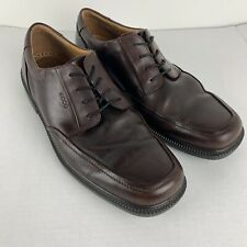 Ecco Mens EUR 46 US 12 12.5 Brown Leather Shoes Oxford Lace Up Dress Up